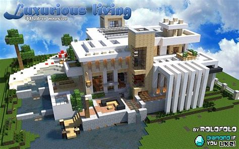 Huge Mansion Floor Plans by Modern Luxurious Living Mansion At Wok And Minecraft