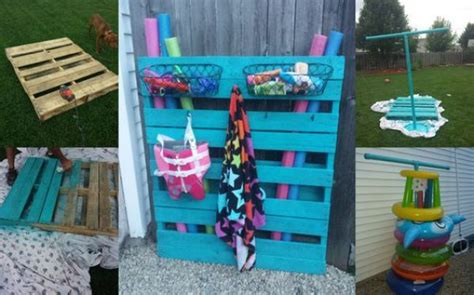 awesome pool storage ideas pallet holder with