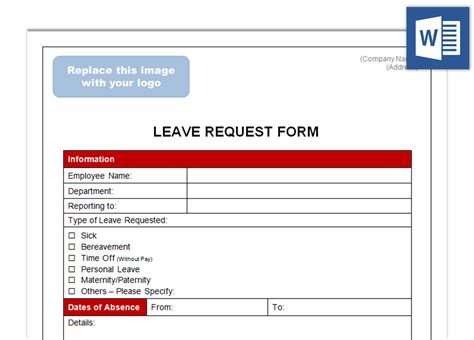 employee sick leave form template leave request form future ceos