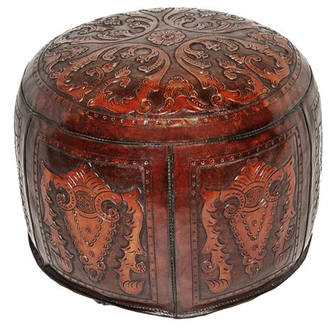 ottoman colonialism tooled leather large round colonial ottoman in antique brown