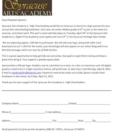 Sponsorship Letter Exles For Cheerleading Saa Notes Cheerleading Fundraisers