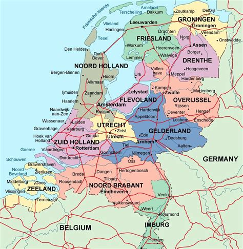 map of with cities detailed administrative map of netherlands with major