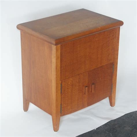 vintage white oak side table cabinet ebay