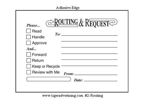 Post It 174 Custom Printed Routing Request Forms Office Pinterest Printed Printable Routing Template