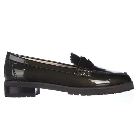 coach loafer coach peyton loafer flats in green lyst