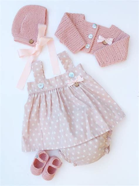 Royale Bebe Cloth baby clothing set dress bloomers bolero bonnet and