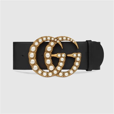 gucci wide leather belt with pearl g in black lyst