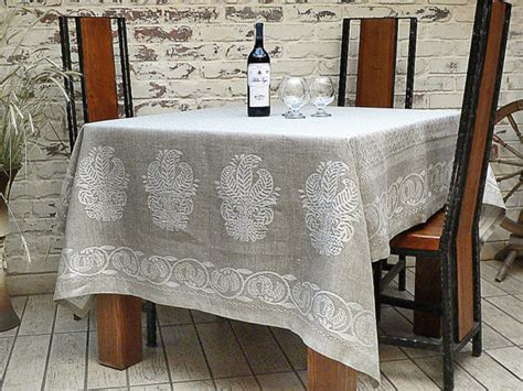 linen tablecloth gray silver by