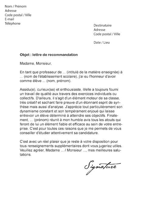 Demande De Lettre De Recommandation Lettre De Recommandation 201 Tudiant Mod 232 Le De Lettre