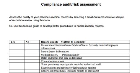 compliance assessment template record compliance audit risk assessment mgma