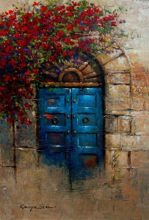 acrylic painting door tuscany doorways painting blue door italian door with
