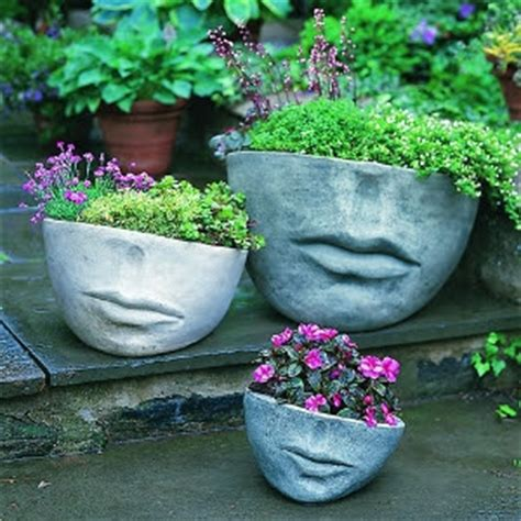 flower pots with faces on them inspire bohemia stone head garden planters