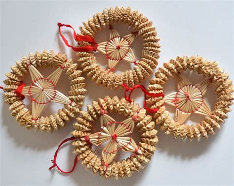 vintage star christmas straw ornaments set of by