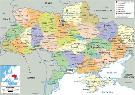 political map europe russia detailed political map of ukraine ezilon maps