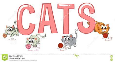 design font word font design with word cats vector illustration