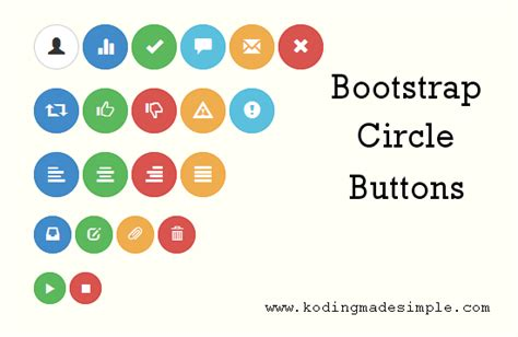creating glyphicons css twitter bootstrap circle round buttons exle