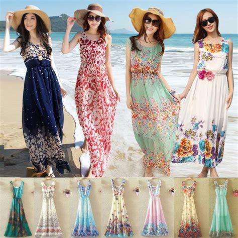 Boho Dress Baju Pantai summer dresses style floral print dress stripe