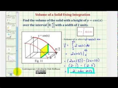 ex 1 volume of a solid with known cross section using