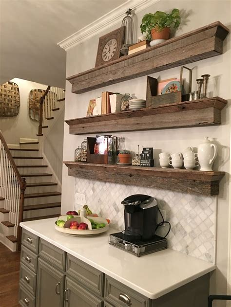 Coffee Home Decor Kitchen Layout Picture To Pin On | floating barnwood shelves coffee bar area a great