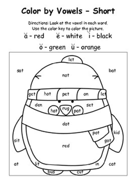 coloring pages for vowels winter color by vowels short 4 total short vowel