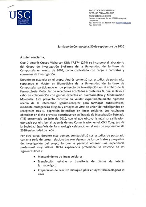 Recommendation Letter Pharmacist Recommendation Letter Andres Crespo Pharmacy With Translation