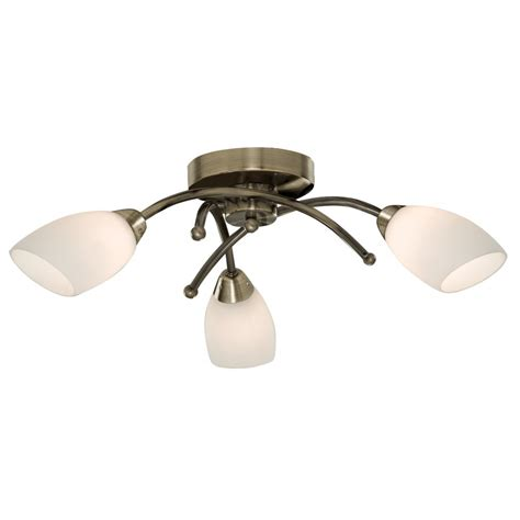Searchlight 8183 3ab Opera 3 Light Antique Brass Semi Flush Ceiling Lights Brass