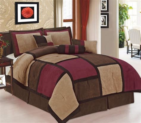 7 pc burgundy brown beige suede patchwork king size