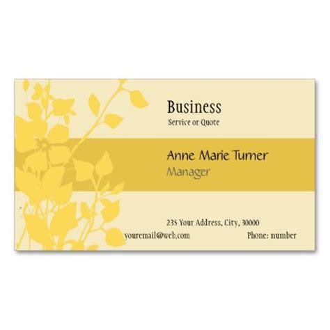 yellow business cards templates modern promotional mustard yellow floral pattern business