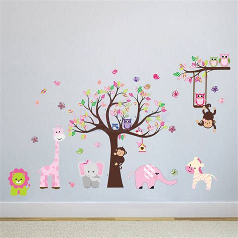 large animal wall stickers large tree and tree branch with safari animals wall sticker