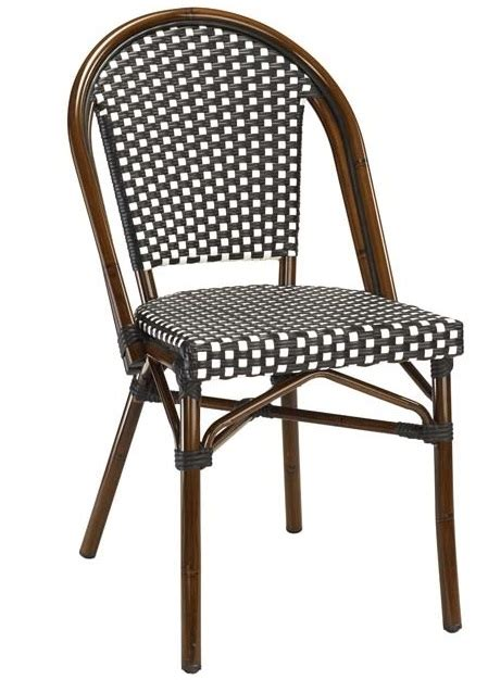 Bamboo Bistro Chairs Black White Rattan Weave Bistro Aluminum Restaurant Chairs Beautiful Durable High Quality