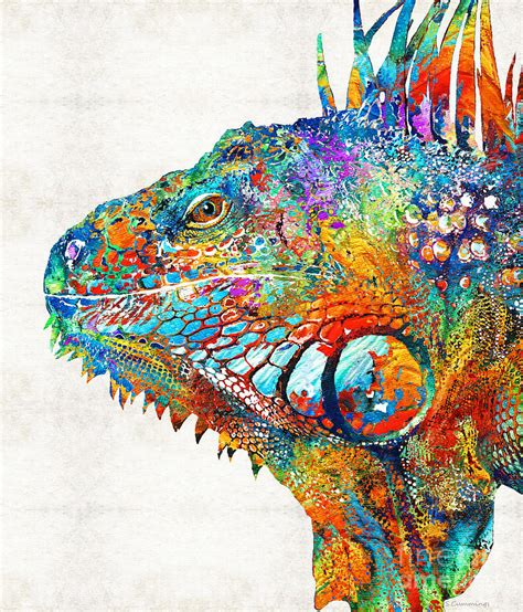 colorful painting colorful iguana one cool dude painting by