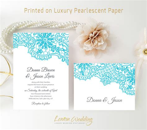 printed wedding invitations cheap turquoise wedding invitation kits printed on luxury shimmer