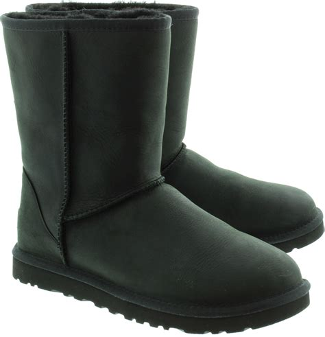 ugg leather boots in black in black