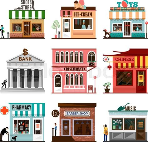 shop layout vector set of flat shop building facades icons vector