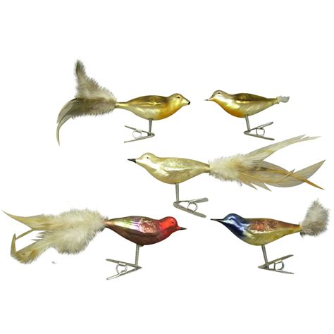 5 glass bird clip on feather tail christmas ornaments sold
