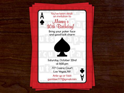 Casino Night Poker Theme Birthday Party Invitation Red