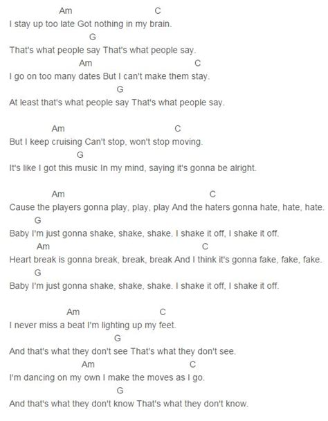 pattern lyrics 17 best ideas about shake it out chords on pinterest