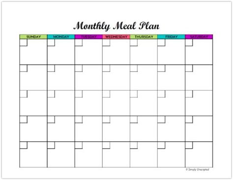 monthly dinner calendar template free monthly meal planner printable calendar template for