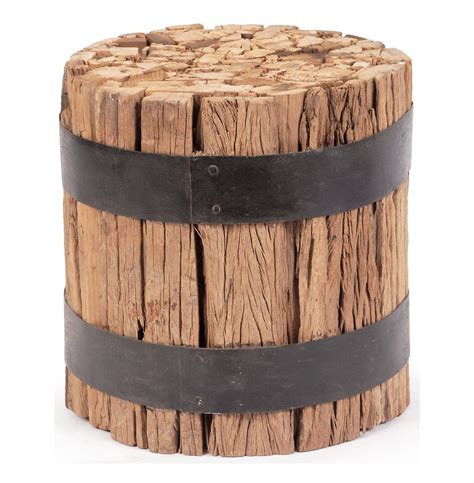 wood barrel table lodge cabin rustic reclaimed wood barrel stool end table kathy kuo home