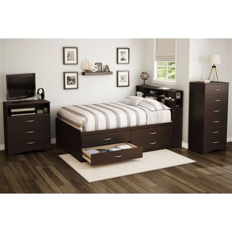 south shore back bay full bookcase headboard in espresso south shore back bay full captains bed in chocolate 3159209