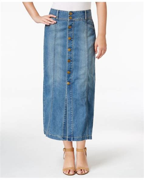 style co button front midi denim skirt only at macy s
