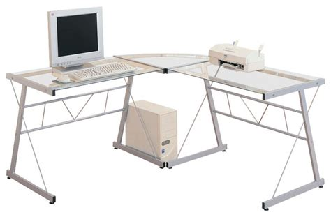 L Shaped Metal Desk Monarch Specialties 7172 L Shaped Glass Top Desk With Black Metal Base Desks And Hutches By