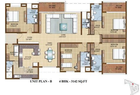 4 Bedroom Luxury Apartment Floor Plans by Sterling Infinia 3 4 Bedroom Apartments Bangalore