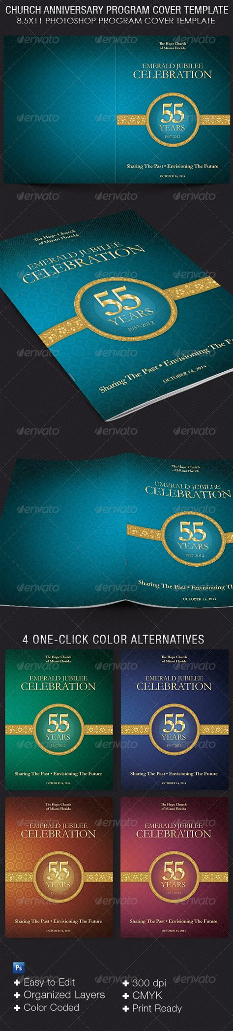 Church Anniversary Program Cover Template By 4cgraphic Graphicriver Church Program Template Graphics