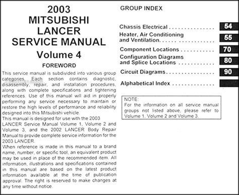 auto manual repair 2003 mitsubishi lancer electronic toll collection 2003 mitsubishi lancer repair shop manual original 4 vol set