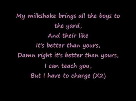in the backyard lyrics milkshake with lyrics youtube