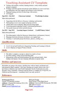teaching curriculum template teaching assistant cv template 2