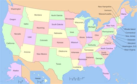 new 50 states map u s state