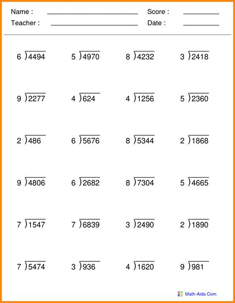 5th Class Maths Worksheets