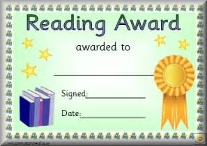 reading certificate templates awards